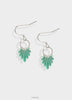cool transparent green earrings with silver