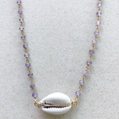 Salty Sun Jewelry Cowrie Shell Double Wire Amethyst Necklace