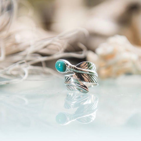Embella Turqoise Feather Wrap Ring