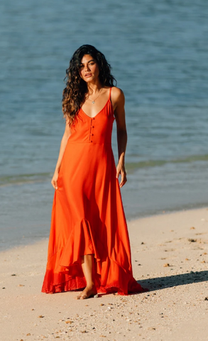 XIX Palms Sante Fe Spaghetti Strap Maxi Dress