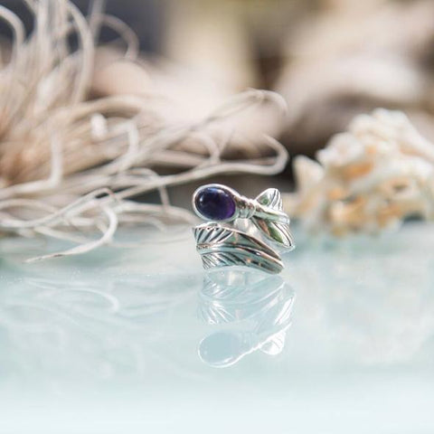 Embella Amethyst Feather Wrap Ring