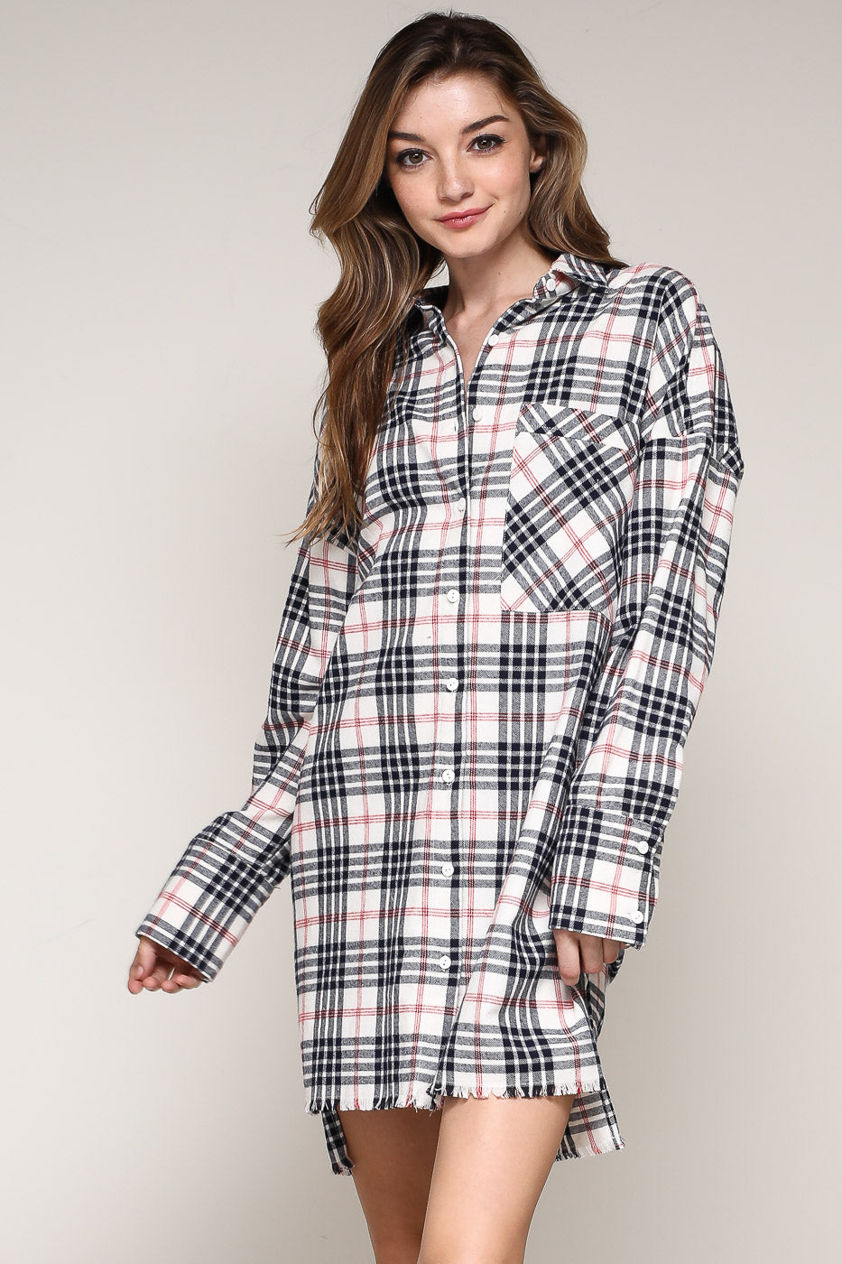 Frayed Hem Plaid Shirtdress