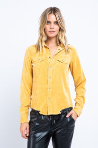 Thick corduroy shirt with frayed hem