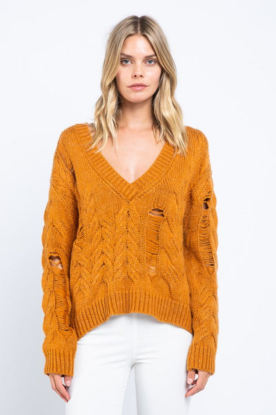 Ripped Chunky Cable Sweater