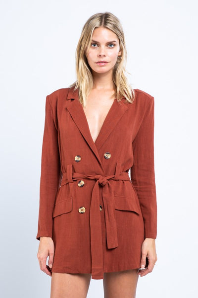 Button-Front Wrap Dress - Rust