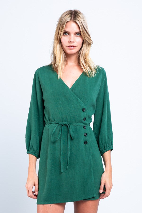 Button-Down Wrap Dress