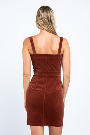 Corduroy Button Front Dress