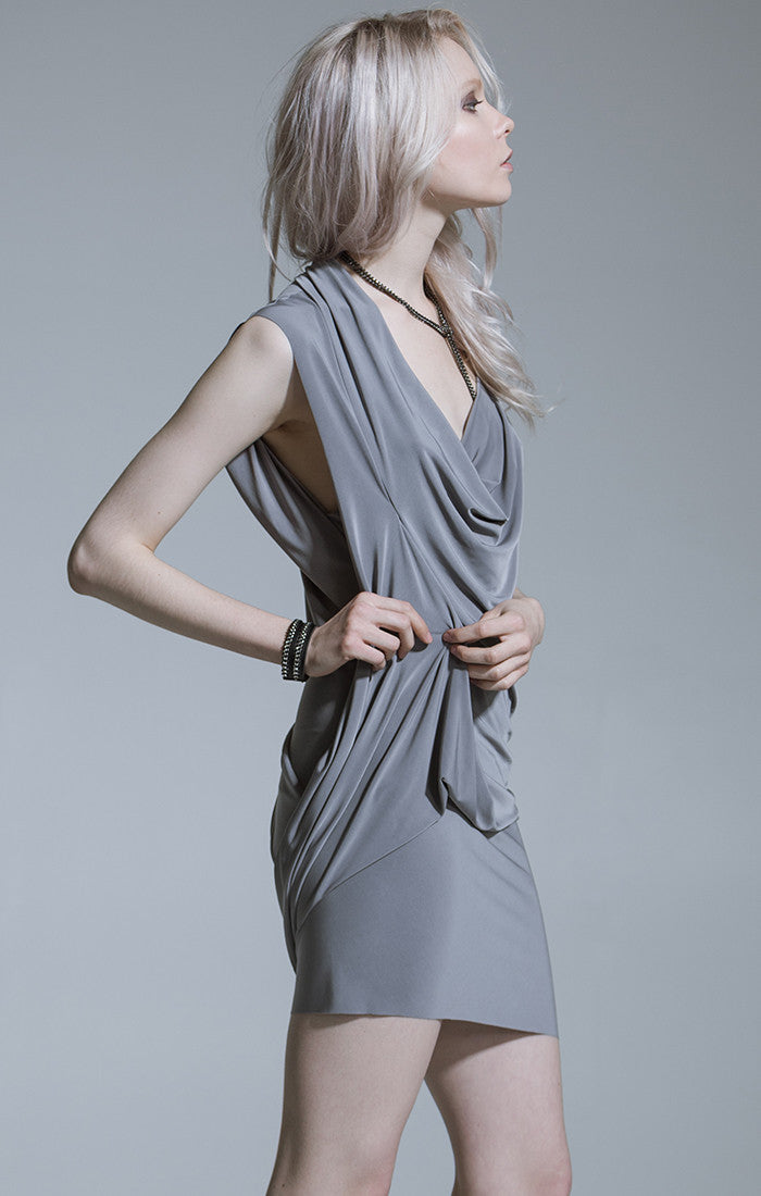 Celine Drape Dress | Grey | BACK IN STOCK
