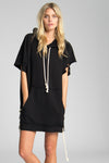 Joss destroyed sweatshirt dress- Black