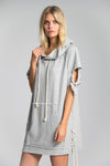 Joss destroyed sweatshirt dress- Heather Grey