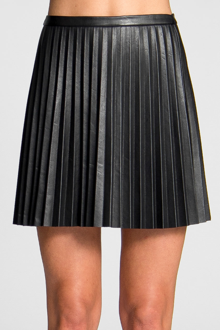 Camellia faux-leather pleat skirt