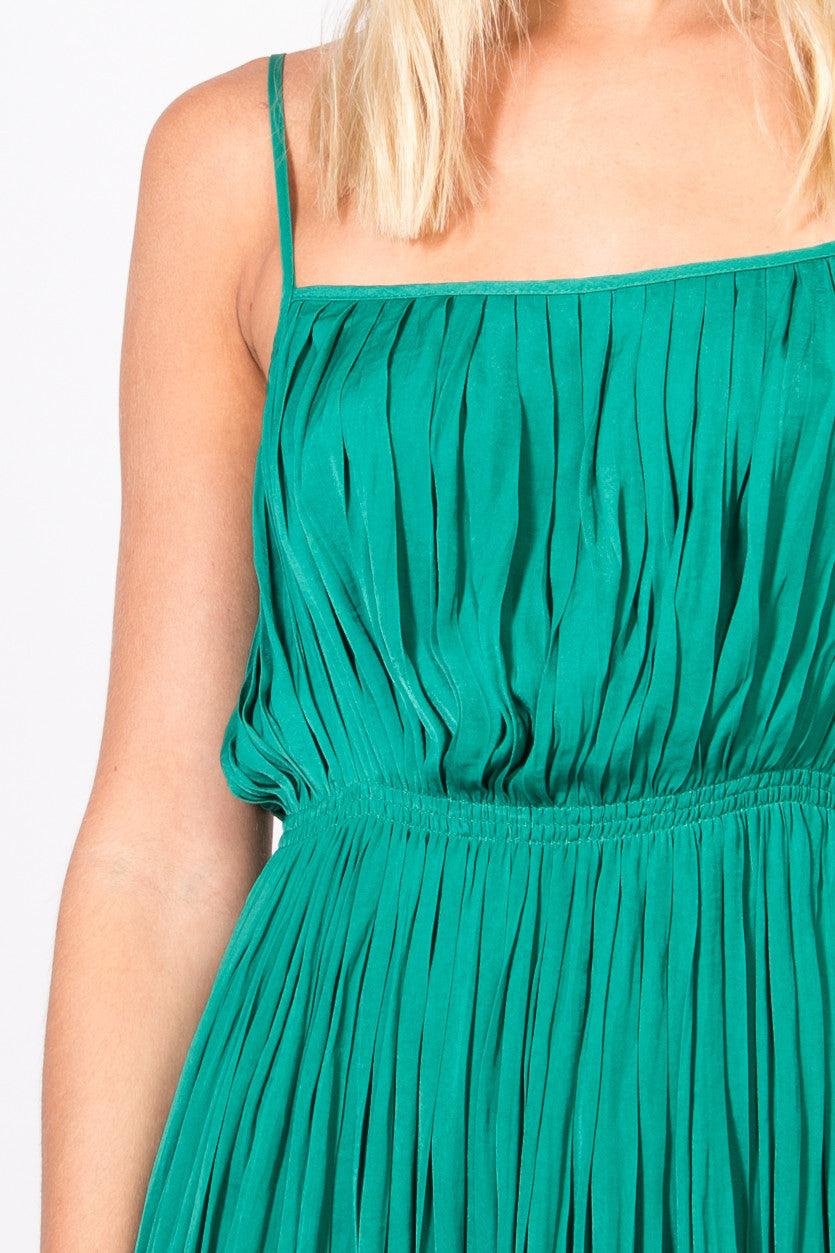 Green Pleated Slip Dress