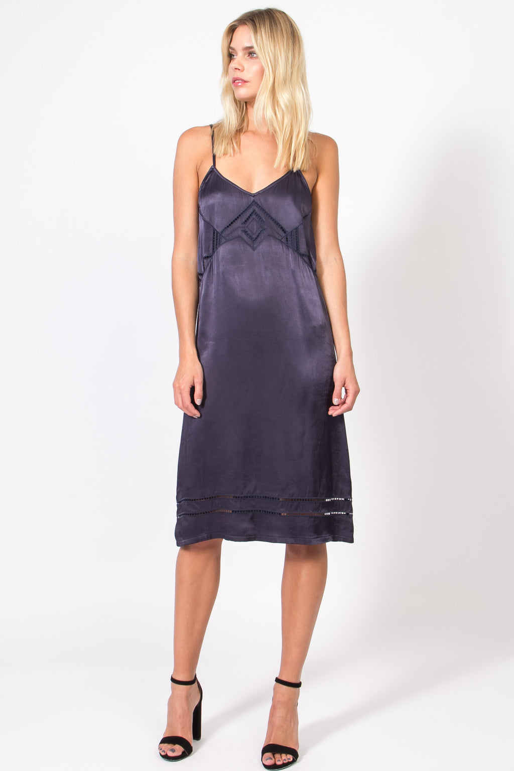 Embroidered Midi Length Slip Dress