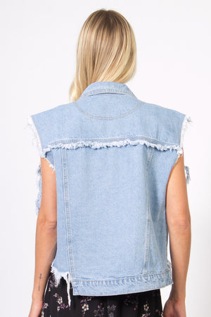Distressed Fringe Denim Vest