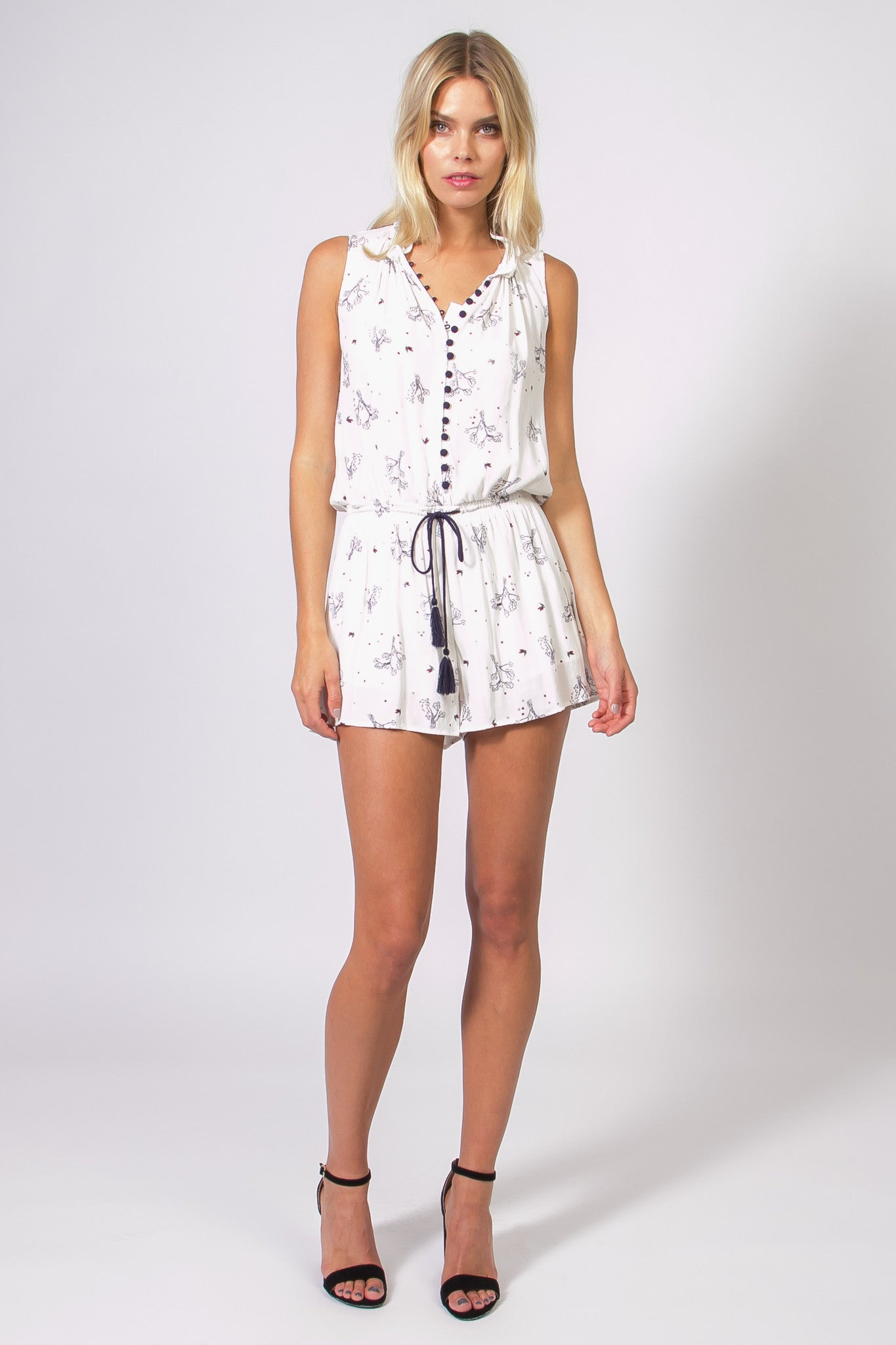 Sleeveless Button Front Print Romper