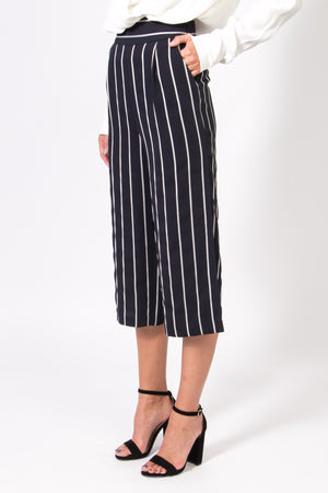 Wide Leg Stripe Pants with Side Slits