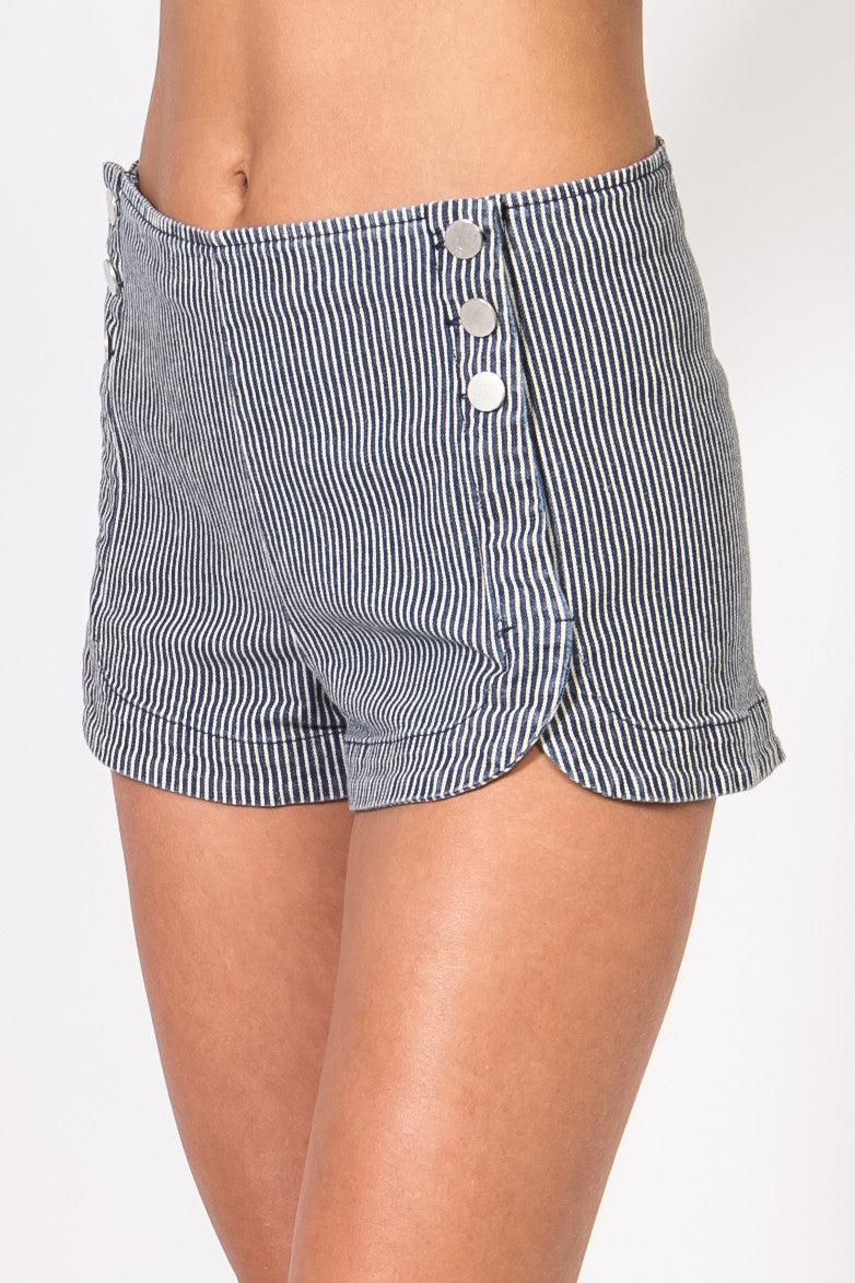Button-front Denim Stripe Shorts