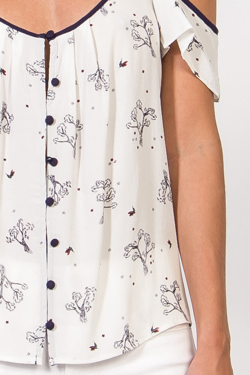 Cold Shoulder Button Front Print Top