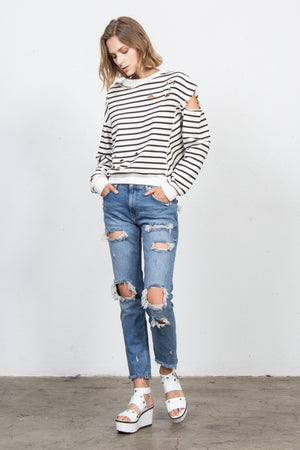 Destroyed Stripe Sweatshirt