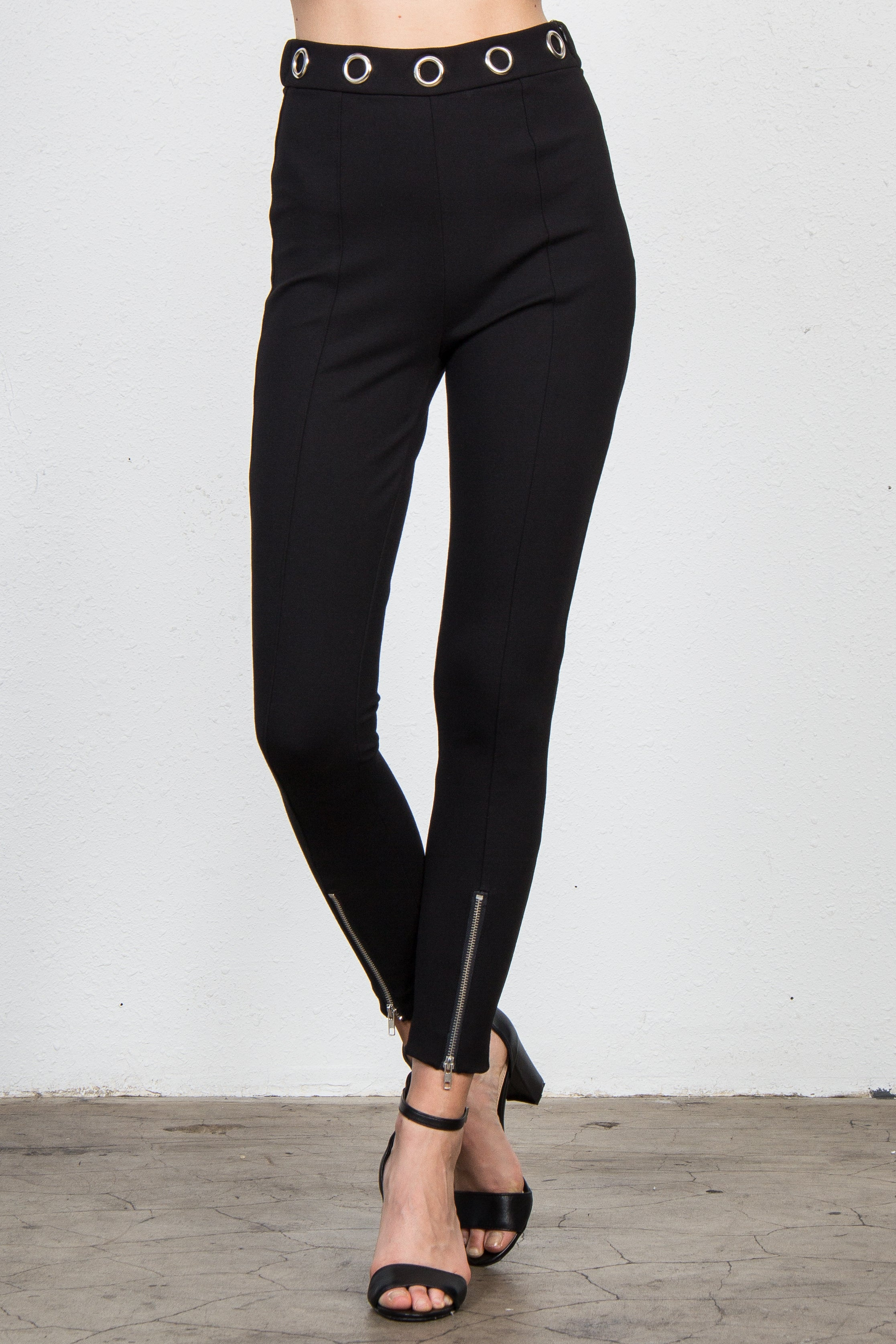 Leggings with Metal Grommets & Zipper Front