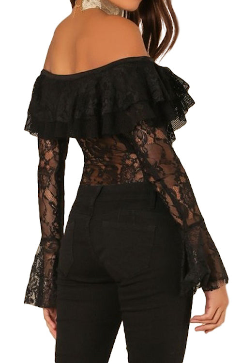 Off Shoulder Lace Bodysuit with Bell Sleeves | Black
