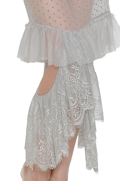 Glittery Lace Tiered Lace Dress with Bodysuit