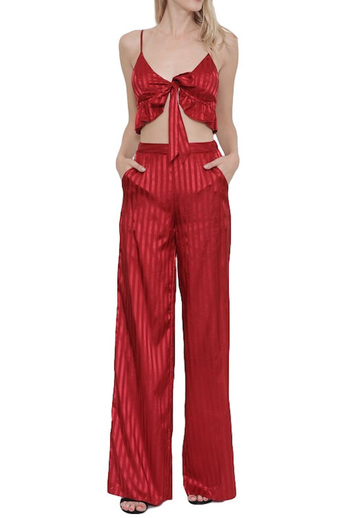 Stripe satin 2-piece set with tie front ruffle top & wide pants