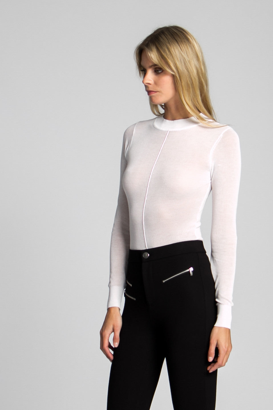 Blondie Sheer Knit Bodysuit - White