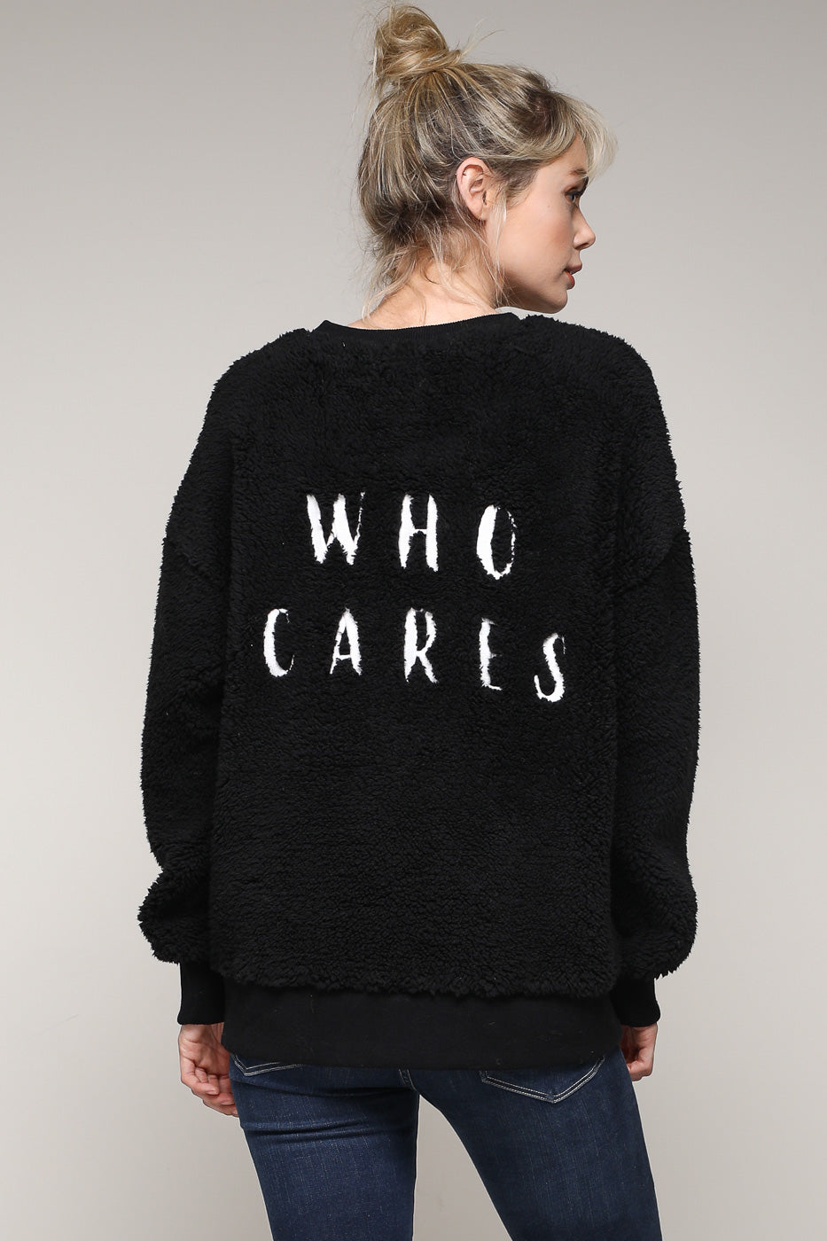 'Who Cares' Furry Sweatshirt