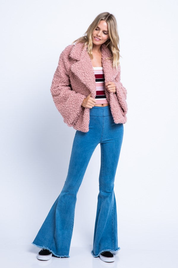 Cozy Curly Faux-Fur Oversized Collar Jacket