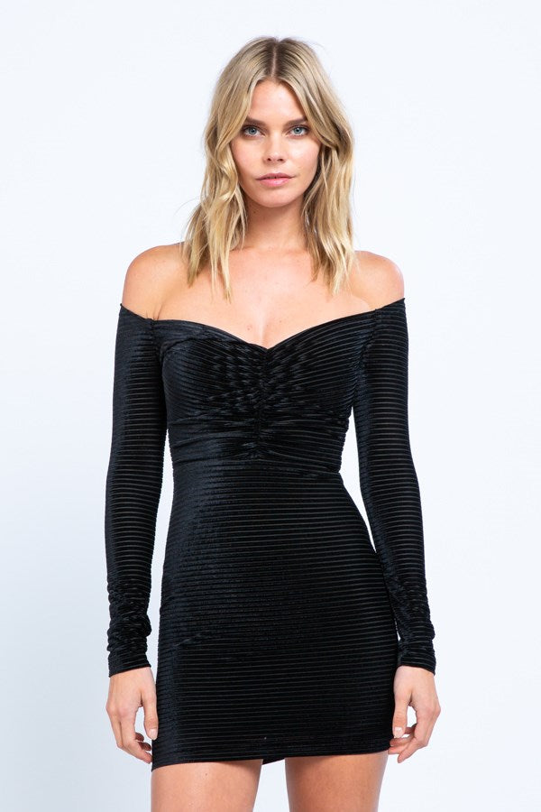 Velvet Stripe Jacquard Off-Shoulder Mini Dress