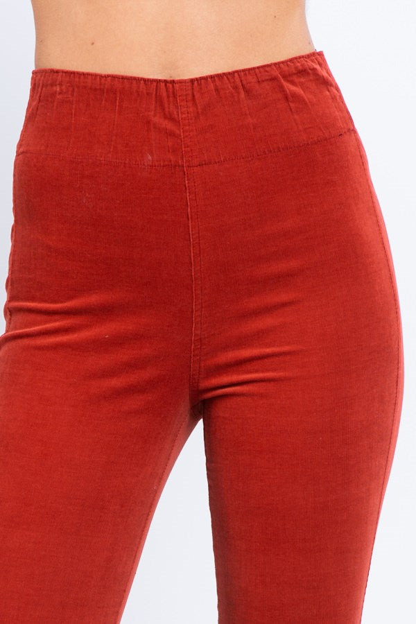 Corduoroy Long Flare Pants- Rust