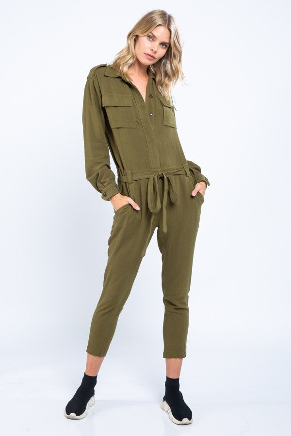 Long-Sleeve Pocket Front Belted Jumpsuit- Olive