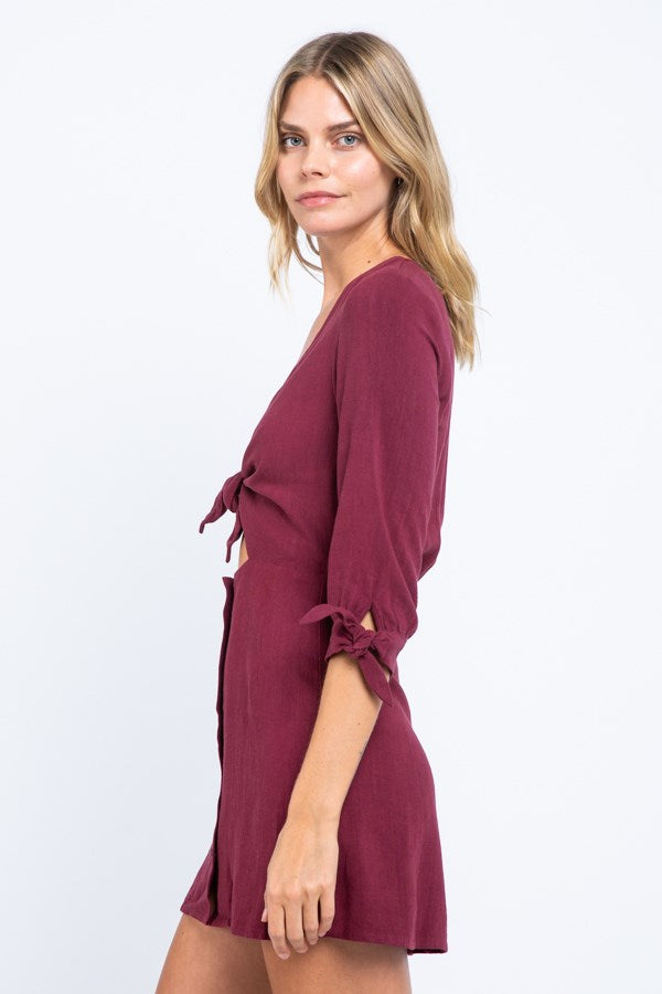 Tie Front Button Down Mini Dress