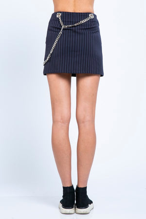 Menswear Stripe Chain Mini Skirt
