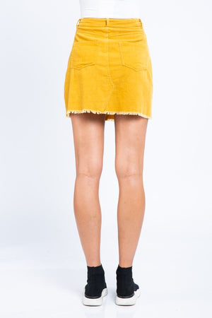 Solid Corduroy Mini Skirt- Mustard