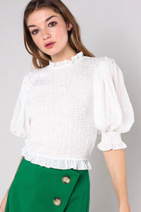 Smocking Crop Top-Off White