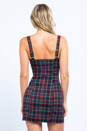 Plaid Hook and Eye Corset Mini Dress-Black
