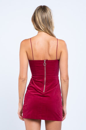 Solid Sleeveless Zipper Back Mini Dress-Wine