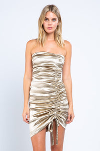 Gold Satin Ruched Mini Dress
