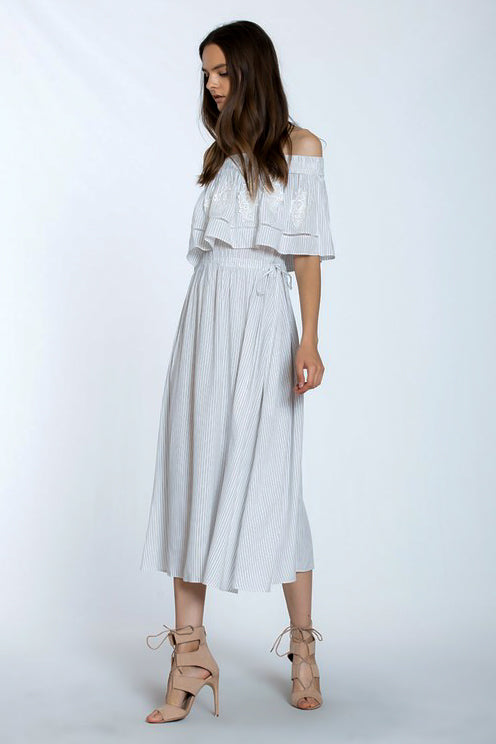 Off Shoulder Stripe Dress with Ruffle & Appliqué Detail