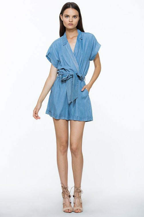Tencel Denim Romper with Belt