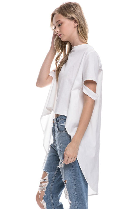 High-Low Hem Cropped T-Shirt
