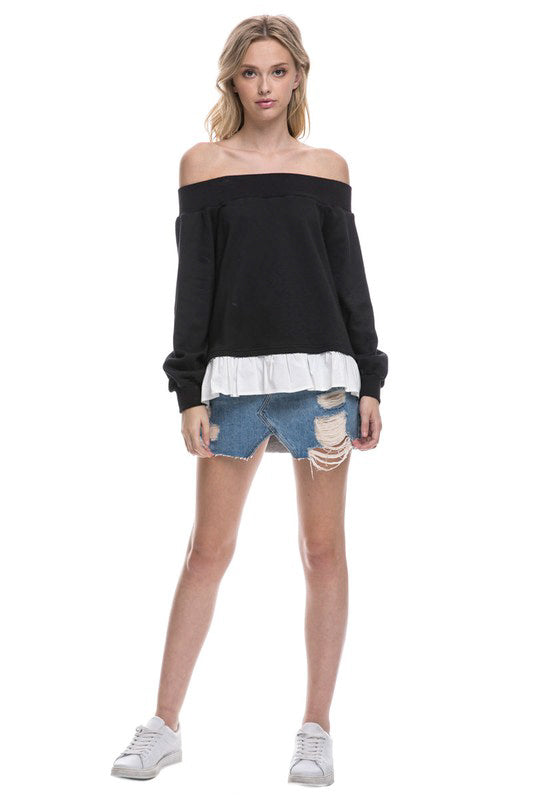 Off-Shoulder Sweatshirt with Ruffle