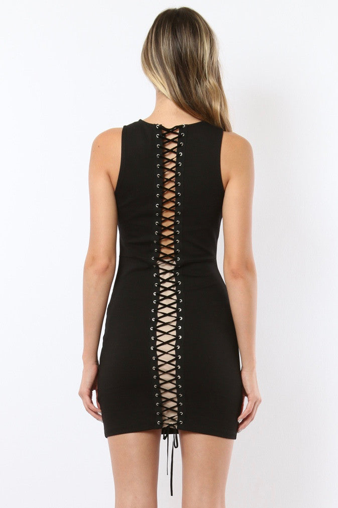 Hana Lace-up Body-Con Mini Dress