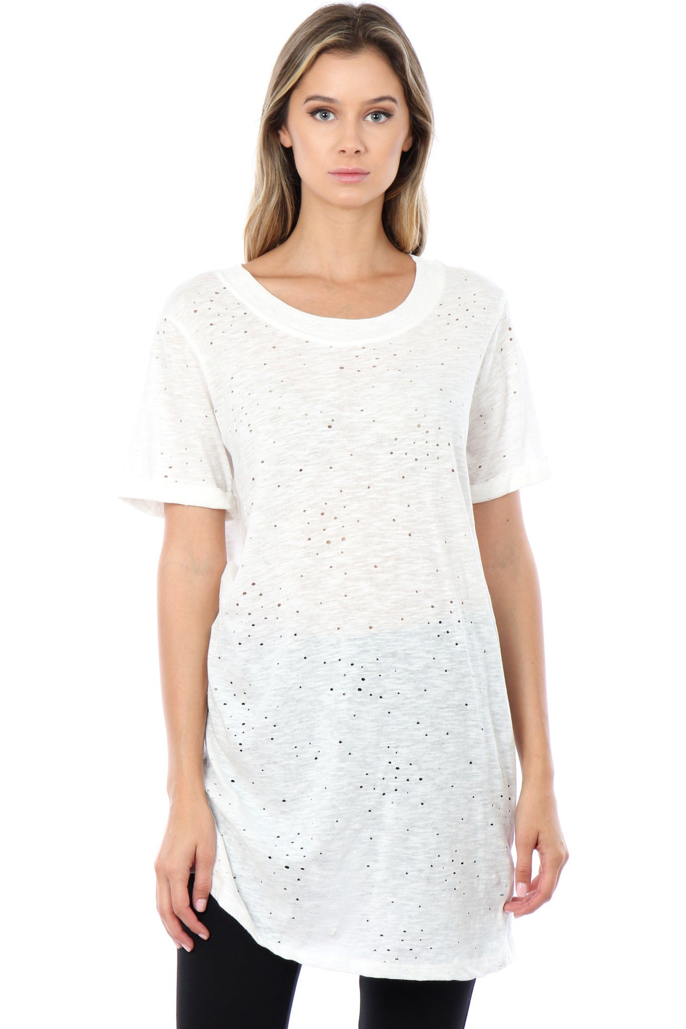 Off White Gail Destroyed T Shirt Womens Top Tee Jack Meets Kate
