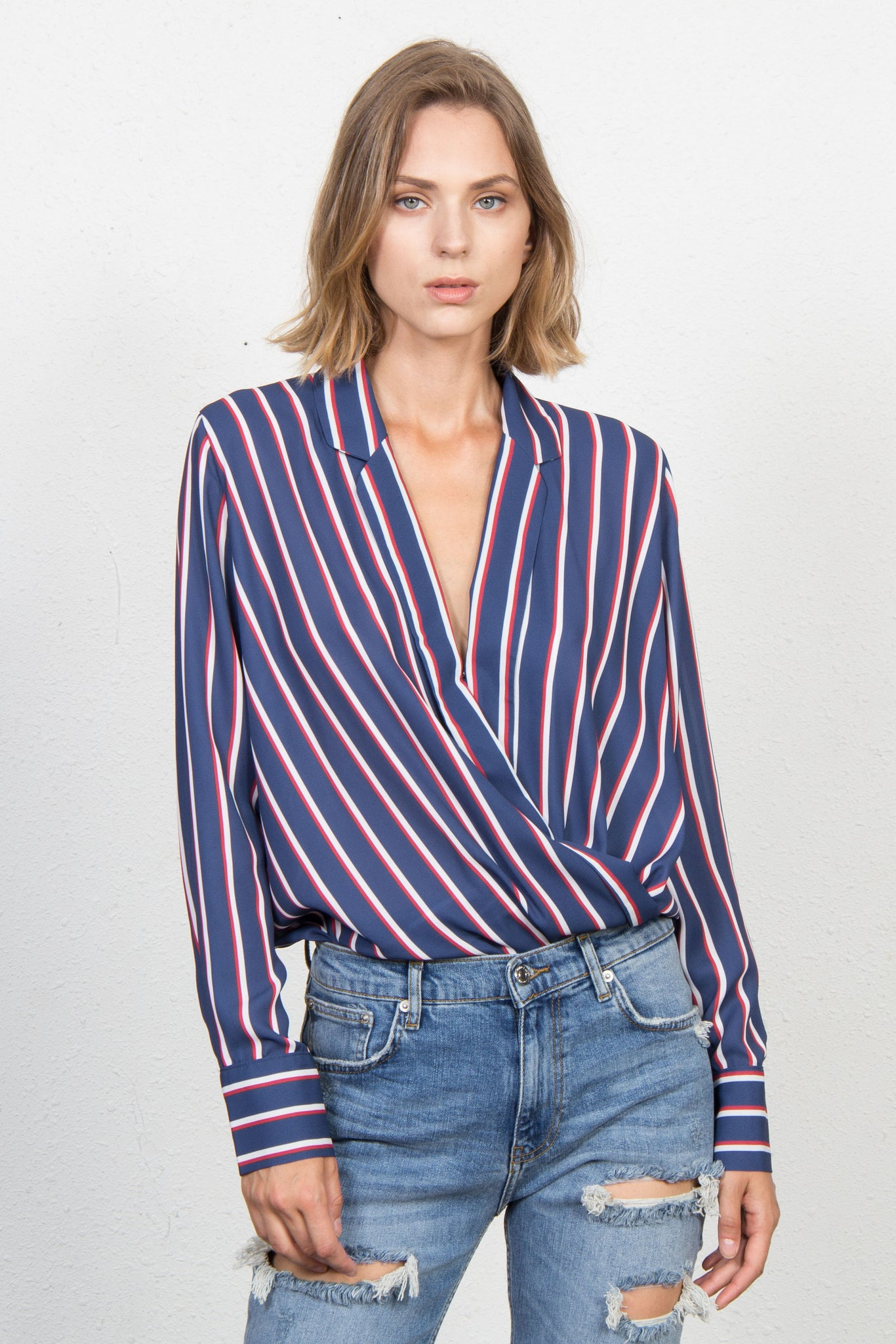 stripe cross-neck bodysuit