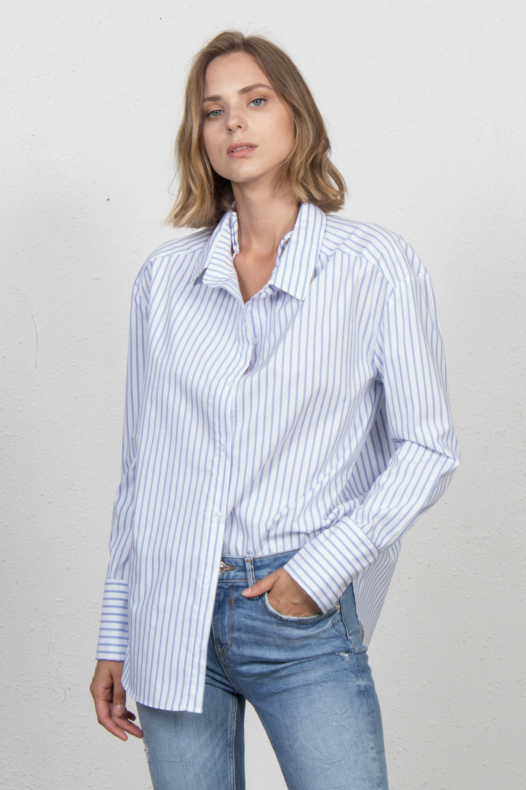 Convertible Stripe Button-Down Shirt