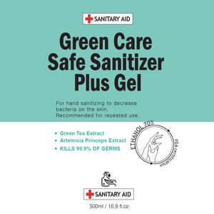 Premium Hand Sanitizer Pump | Green Care Safe Sanitizer Plus Gel | 2 Bottles | 70% Ethanol Alcohol | Green Tea Extract | Made In South Korea