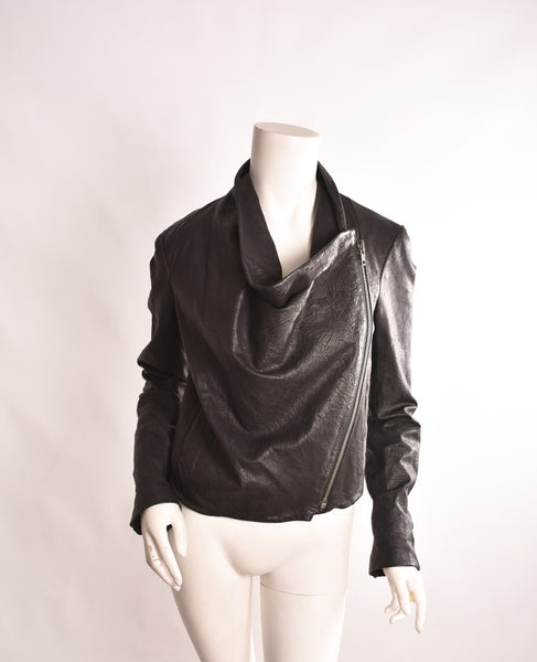 HELMUT LANG Crackled Leather Jacket | Size Small